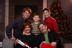 Portrait of happy family at christmas eve Royalty Free Stock Photos