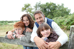 Portrait of happy family in countryside Royalty Free Stock Photo