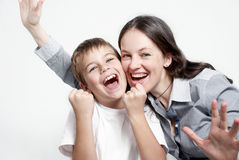 Portrait happy family football fans Royalty Free Stock Photo