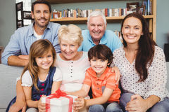 Portrait of happy family with gift box Royalty Free Stock Photography