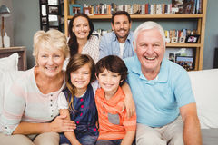 Portrait of happy family with grandparents Royalty Free Stock Images