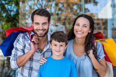 Portrait of a happy family having fun in the mall Royalty Free Stock Photos