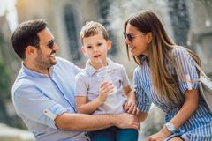 Happy family having fun together outdoor royalty free stock photography