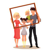 Portrait of happy family holding frame Stock Images