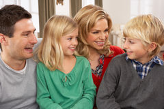 Portrait Of Happy Family At Home. Smiling royalty free stock photography