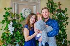 Portrait of family at home stock images