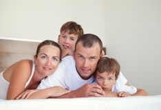 Portrait of happy family in home Stock Photo