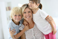 Portrait of happy family at home Royalty Free Stock Photos