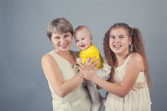 Portrait of a happy family, studio Royalty Free Stock Image