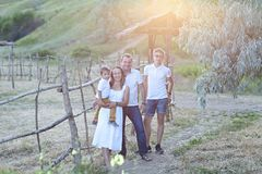 Portrait of the happy family with ltwo sons stock photo