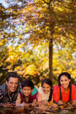 Portrait of happy family lying on field at park Royalty Free Stock Photos