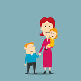 Portrait of happy family with mother and two kids vector illustration
