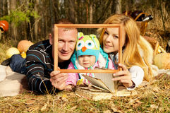 Portrait of happy family on nature Stock Photography