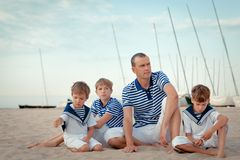 Portrait of happy family near yacht Royalty Free Stock Images