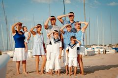Portrait of happy family near yacht Royalty Free Stock Image