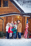 Portrait of happy family outdoor on Christmas Royalty Free Stock Photo