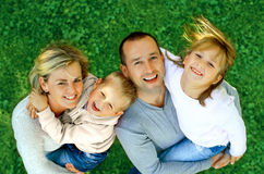 Portrait of a happy family smiling. A top view Stock Photo