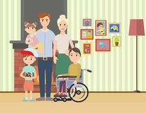 Portrait of happy family with special needs child Stock Images