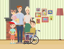 Portrait of happy family with special needs child Stock Image
