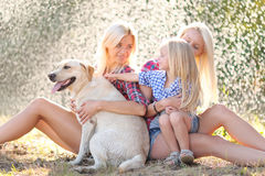 Portrait of a happy family in the summer royalty free stock photos