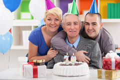 Portrait of happy family on 70th birthday Royalty Free Stock Photography
