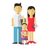 Portrait of happy family together: mother, father and child. Young couple of husband and wife and their daughter. Vector illustration with daddy, mom and kid Stock Images