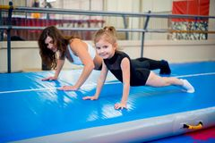 Family in trampoline center Stock Photography