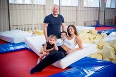 Family in trampoline center Stock Photos