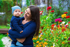 Portrait of a happy family. Woman and child Stock Images