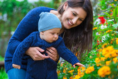 Portrait of a happy family. Woman and child stock image