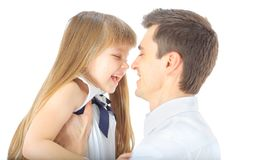 Portrait of happy father and daughter Stock Photos