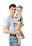 Portrait of a happy father with his little son. isolated on whit Royalty Free Stock Photos