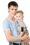 Portrait of a happy father with his little son. isolated on white Royalty Free Stock Images