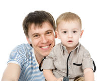 Portrait of a happy father with his little son. isolated on white Royalty Free Stock Photography