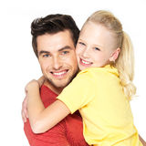 Portrait of the happy father with pretty daughter Royalty Free Stock Photos