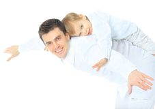 Portrait of happy father and son Stock Photo