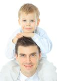 Portrait of happy father and son Stock Photos