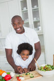 Portrait of happy father and son preparing vegetables Royalty Free Stock Image