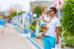 Portrait of happy father and son on the street Royalty Free Stock Images