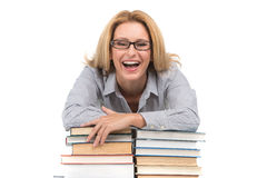Portrait of happy female advocate leaning on books. Teacher at table with books on white background Stock Photo