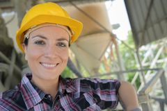 Portrait happy female builder Royalty Free Stock Photo