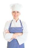 Portrait of happy female chef cook. Stock Photo