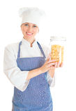 Portrait of happy female chef cook with pasta. Royalty Free Stock Photo