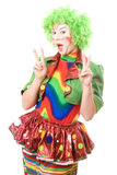 Portrait of happy female clown Stock Photos