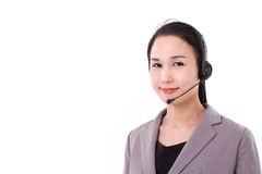 Portrait of happy female customer service executive with headset Stock Image