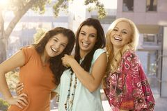 Portrait of happy female friends Stock Images
