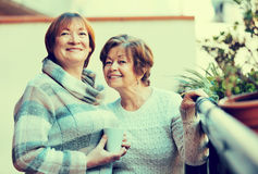 Portrait of happy female pensioners drinking tea and smiling Stock Photo