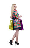 Portrait of happy female shopaholic with several Royalty Free Stock Photography