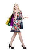 Portrait of happy female shopaholic with several Royalty Free Stock Image