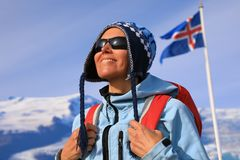 Portrait of a happy female tourist stock photos